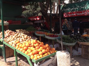 Some stalls were selling mixed fruit and veg