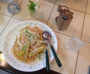 Lemon courgette and herb spaghetti