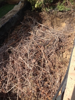 Plenty of dried branches form the base layer