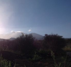 Closer to the volcano, at sundown